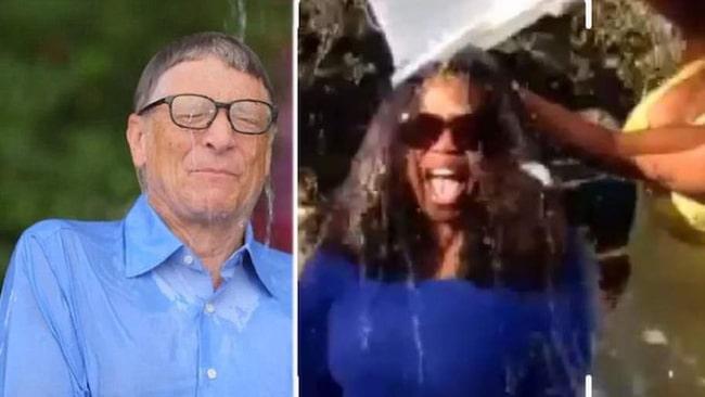 <span>Många kändisar deltog i kampanjen. Här syns Bill Gates och Oprah Winfrey när de dränks i iskallt vatten.</span>