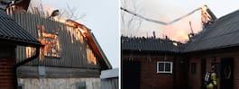Brandmän kämpar mot storbrand på lantbruk