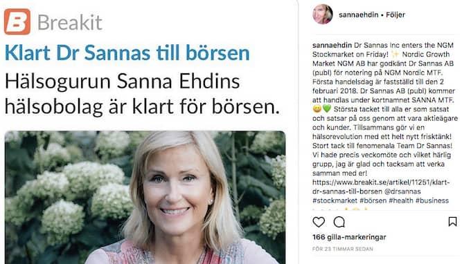 """På Instagram tackar Sanna Ehdin aktieägare och kunder. """"Tillsammans gör vi en hälsorevolution med ett helt nytt frisktänk!"""""""