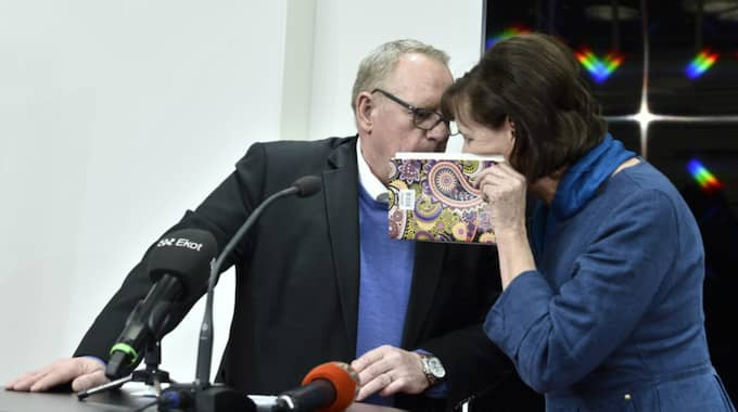 Anders Bergström och Annelie Nordström. Anders Bergström meddelade att han avgår. Foto: Claudio Bresciani/Tt