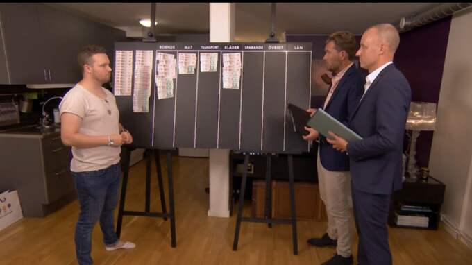 TV#:s Lyxfällan-experter Patrick Grimlund och Magnus Hedberg visar skuldsatte Magnus Cedergren hur han kan komma i ordning med sin ekonomi. Foto: TV3