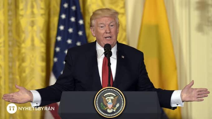 Donald Trump förnekar att hans kampanj hade någon koppling till Ryssland under presidentvalet i november 2016 och klippte på torsdagen av medias frågor i ärendet. Foto: SUSAN WALSH