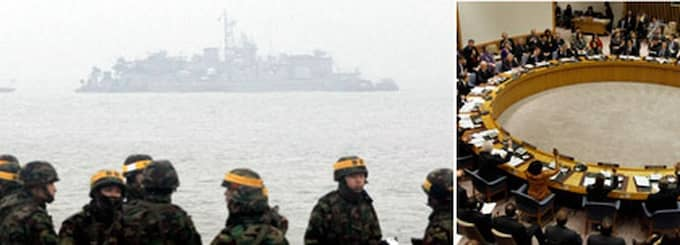 Sydkoreanska soldater på plats vid den planerade övningen. Nu ska FN:s säkerhetsråd hålla krismöte om den extremt spända situationen. Foto: AP