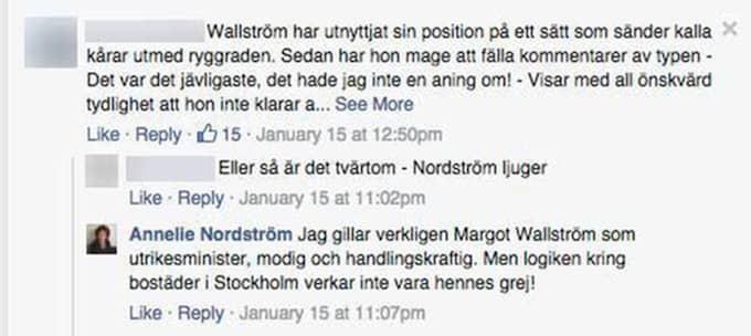 """""""Jag gillar verkligen Margot Wallström som utrikesminister, modig och handlingskraftig. Men logiken kring bostäder i Stockholm verkar inte vara hennes grej!"""" skriver Annelie Nordström på Facebook."""