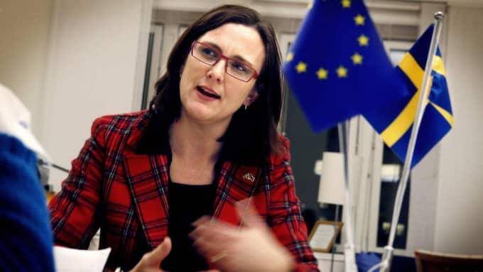 Cecilia Malmström är Sveriges EU-kommissionär. I EU-valet har en person använt sin röstsedel för att rikta ett grovt sexualiserat dödshot mot henne. Malmströms stab vill inte kommentera hotet. Foto: Robban Andersson