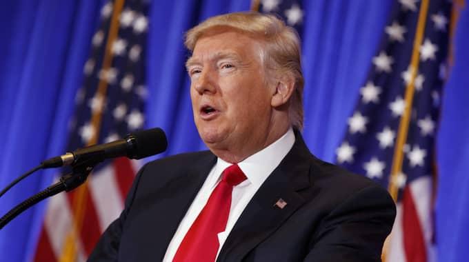 Donald Trump kritiserade medierna under presskonferensen. Foto: Evan Vucci / AP TT NYHETSBYRÅN