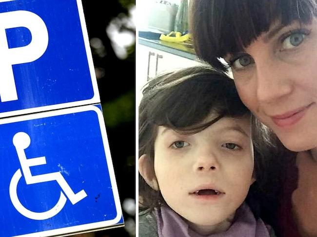Nina Jönsson och hennes dotter får parkera på skolans plats för rörelsehindrade, men ofta är den upptagen av bilar utan tillstånd.