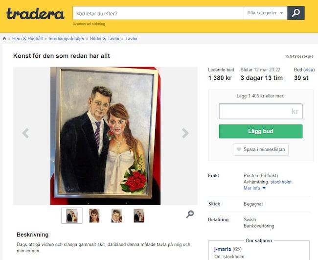 """På andra plats över dyrast inredning på Tradera kom Marcus Birros bröllopstavla som hans exfru sålde med rubriken """"Konst för den som har allt"""", för 50 100 kronor, en tavla som också lockade flest besökare (178 000) till deras sajt under året."""