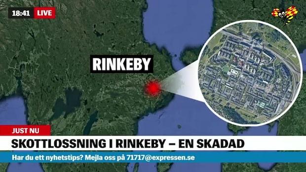 En man har blivit beskjuten i Rinkeby i Stockholm
