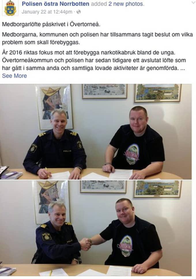 Övertorneås kommunalråd gick i fredags ut med en ny kampanj mot droger. Samtidigt passade han på att göra reklam – för sitt eget ölbryggeri. Foto: Skärmavbild/Facebook