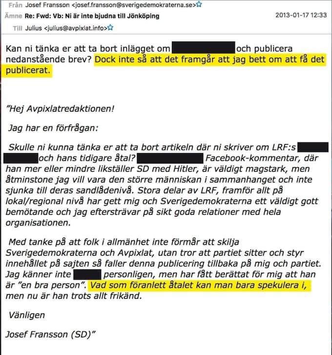 """Josef Fransson till Avpixlat: """"Vad som föranlett åtalet kan man bara spekulera i, men nu är han trots allt frikänd."""""""