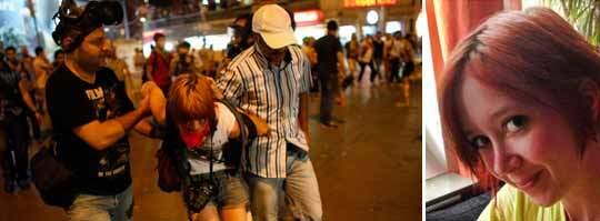 Svenska Sarah Olsson, 24, greps av polisen i Istanbul under en demonstration. Foto: Reuters och Privat