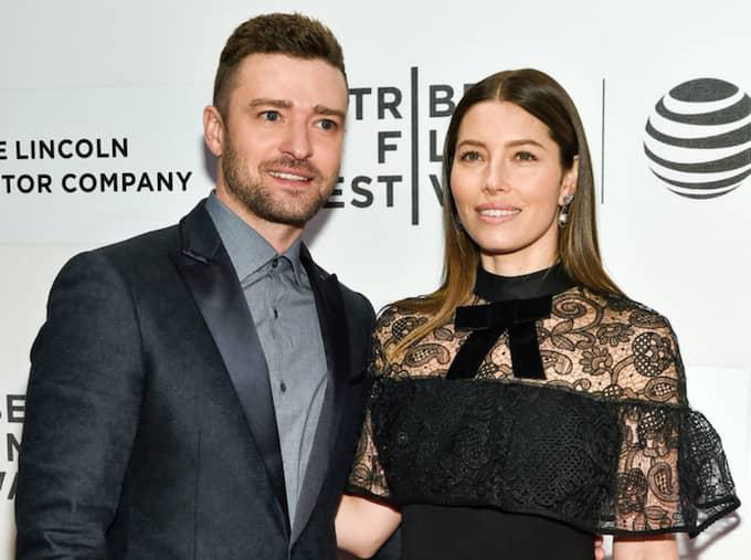 Justin Timberlake och hustrun Jessica Biel. Foto: Evan Agostini / AP TT NYHETSBYRÅN