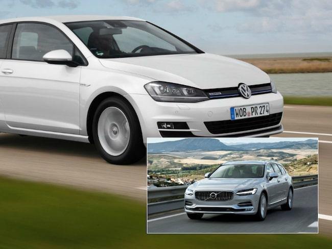 Volkswagen Golf blev den mest sålda bilen 2016. Som två hamnar Volvo med modellerna V90/S90/V70/XC70.