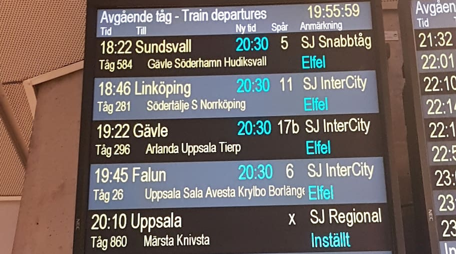 Problemen i tågtrafiken forstätter i dag. På onsdagen satt ett