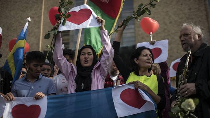 Aktivister och ensamkommande afghaner vill se en amnesti för afghaner med asylavslag. Foto: CHRISTOFFER HJALMARSSON
