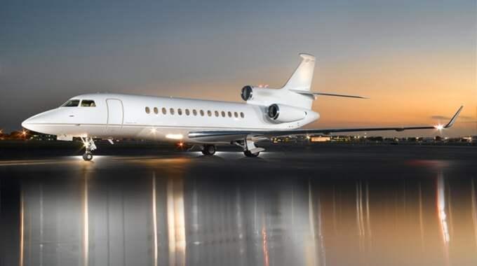 Flygplan av typen Falcon 7X, som Anderssons bolag Kvalitema nyligen köpte från SCA och Sandvik.