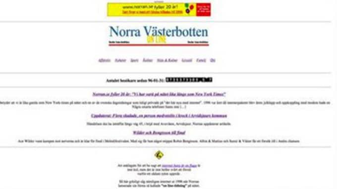 Så här såg Norran ut i början av veckan när man ville bjuda läsarna på en resa i nostalgins tecken.