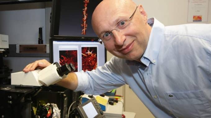 De har skapat supermikroskop som gör det möjligt att kika in i livets innersta hemligheter. Med deras teknik kan man se hur sjukdomar utvecklas i levande celler. På bilden ses Stefan Hell tillammans vid mikroskopet. Foto: Hubert Jelinek