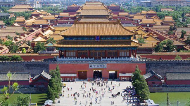 Förbjudna stadens böljande tak sedda från Jingshan-parkens högsta kulle.