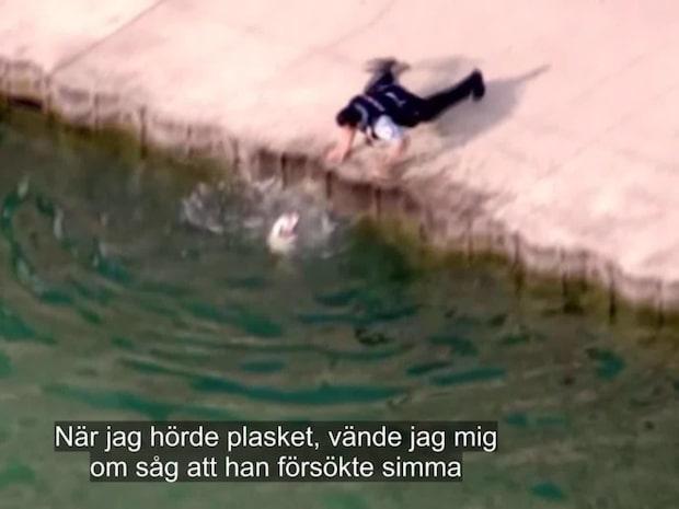 Hunden kan inte ta sig upp ur vattnet - då kommer räddningen