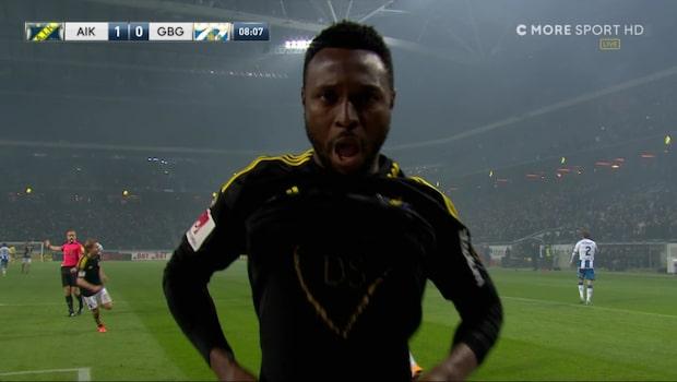 Obasi ger AIK ledningen – hyllar skadade lagkamraten