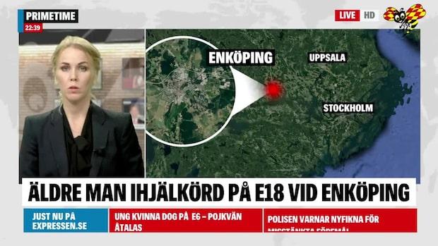 Man död –påkörd på E18 vid Enköping