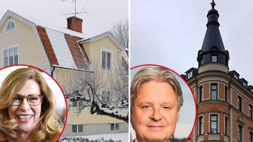 Birgitte Bonnesen, VD på Swedbank och Casper von Koskull, VD på Nordea med sina bostäder.