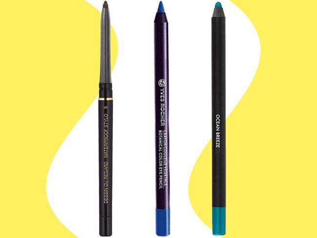 Färgstarka ögonpennor ger en effektfull makeup.