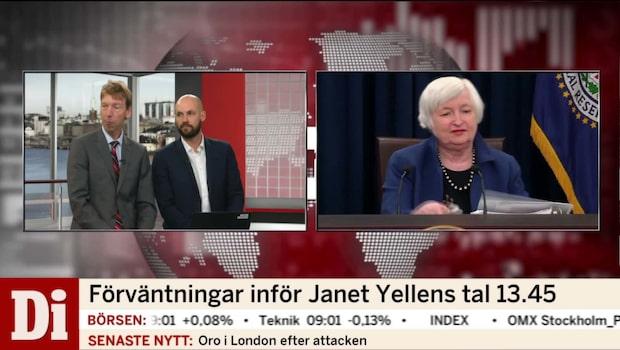 Yellen talar i eftermiddag om den framtida penningpolitiken