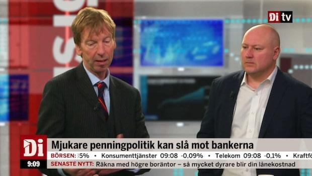 Mjukare penningpolitik kan slå mot bankerna