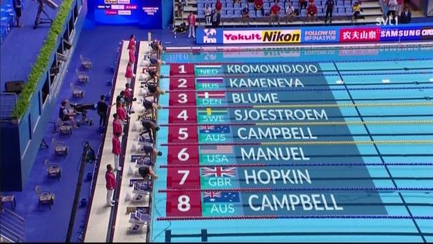 Här tar Sarah Sjöström sin femte VM-medalj