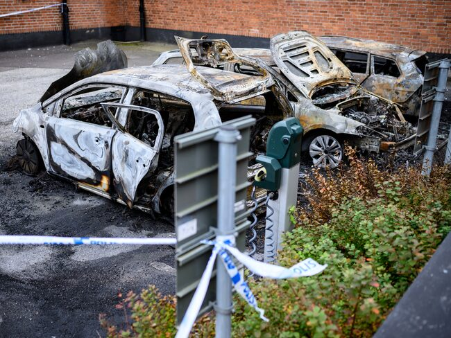 Tre utbrända bilar i Lund, september 2019.