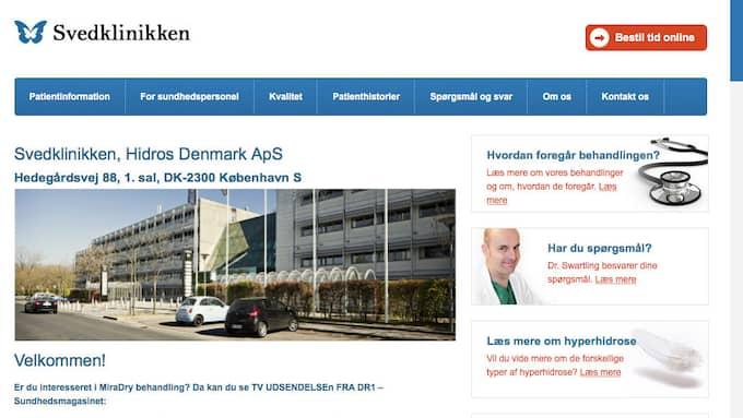Klinikens hemsida. Svettkliniken ligger i Danmark men ägs av två svenska läkare.