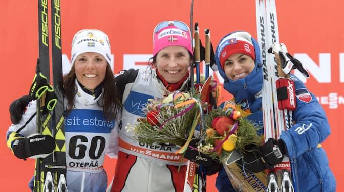 Charlotte Kalla, Marit Björgen och Heidi Weng. Foto: Carl Sandin / BILDBYRÅN