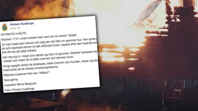Polisen berömmer mannens insats på Facebook. Foto: Polisen