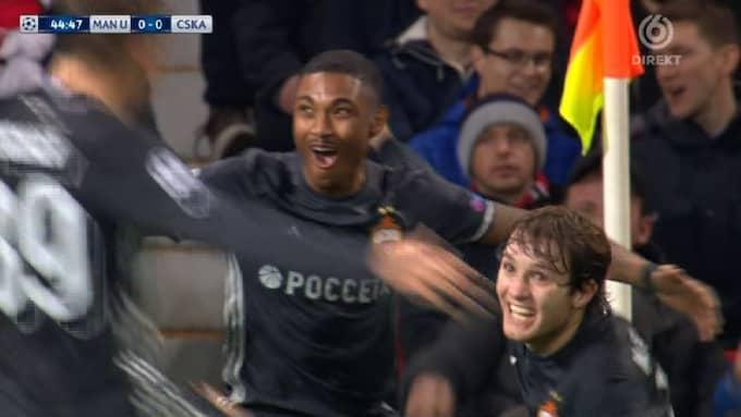 CSKA Moskva-spelarna firar! Foto: TV6.