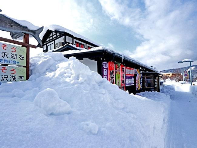 Flera meter höga snövallar är en vanlig syn i Aomori.
