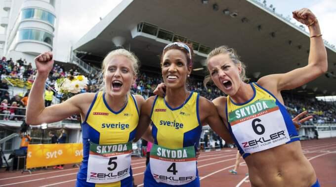 Linn Nilsson, Meraf Bahta och Lovisa Lindh. Foto: Joel Marklund