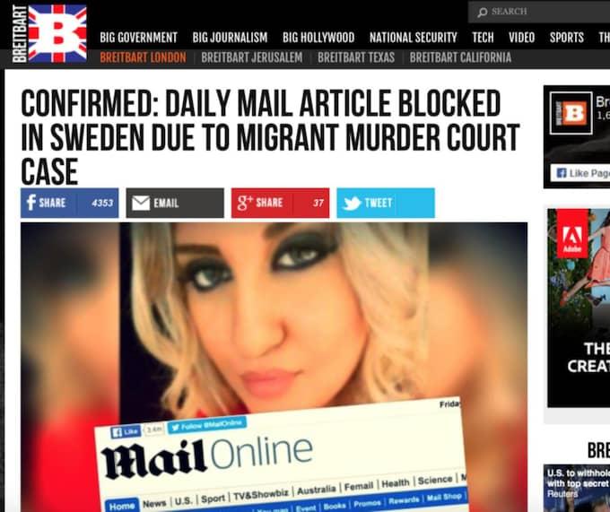"""BREITBART """"En artikel på Daily Mails sajt (Mail Online) har blockerats i Sverige efter att nyhetspublikationen ifrågasatt åldern på den migrant som anklagas för attacken och som nu är i domstol i landet, efter knivhuggningen av en 22-årig asylcenteranställd"""""""
