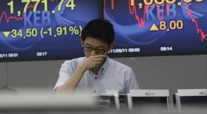 Börserna i Asien sjunker på bred front under den tidiga handeln. Foto: Ahn Young-Joon/AP