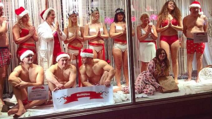 17 år i rad har underklädesbutiken Shangri La ordnat ett luciatåg där deltagarna är iklädda underkläder från butikens sortiment. Foto: Privat