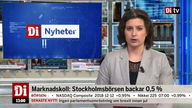 Di Nyheter 13:00 – Banknedgång pressar Stockholmsbörsen