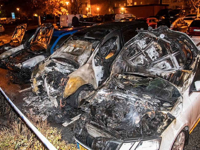 Fyra utbrända bilar i Lund, oktober 2019.