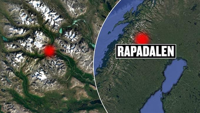 Sällskapet larmade från Rapadalen i Sareks nationalpark. Foto: Google maps