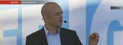 Fredrik Reinfeldt höll tal.