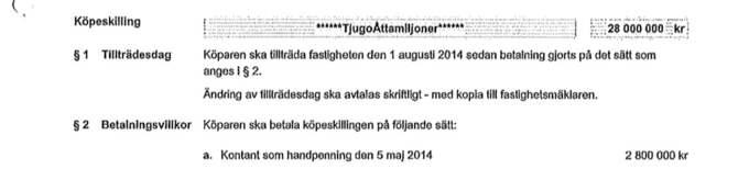 På köpekontraktet står prislappen: 28 miljoner kronor. Foto: Tingsrätten