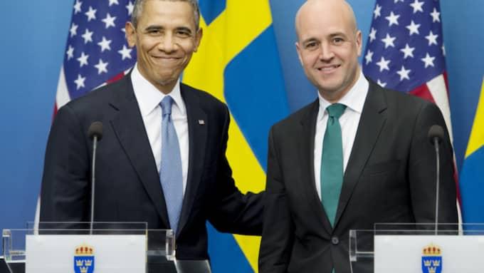 Statsminister Fredrik Reinfeldt solade sig i glansen från Barack Obama under hans historiska Sverigebesök 2013. Foto: Robban Andersson