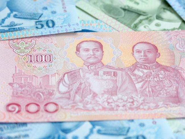 Baksidan av Thailands nya 100-bahtsedel.