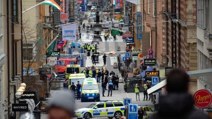 Det var fredagen den 7 april som attentatet inträffade på Drottninggatan i centrala Stockholm. Foto: Rob Schoenbaum / POLARIS/IBL POLARIS